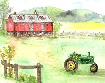 Farm and Tractor Watercolor Print, Maryland Art, Walkersville Painting, John Deere Picture, Red Barn in Green Field Landscape, Fences