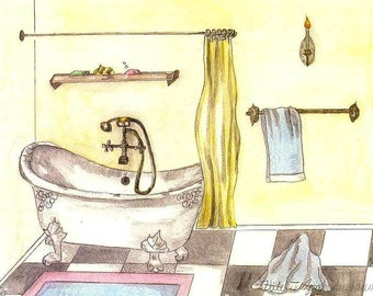 Bathroom Art, Watercolor Print of Vintage Bathtub, Art Deco Picture, Claw Foot Tub, Antique Fixtures, Washroom Painting