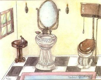 Vintage Toilet and Sink Watercolor Print, Bathroom Art, Victorian Painting, Art Deco Home Decor