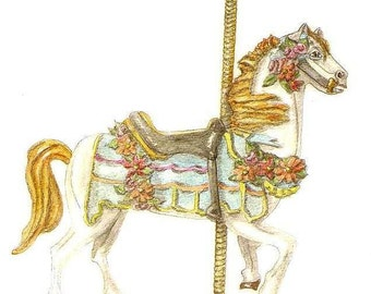 Carousel Horse Watercolor Print, Victorian Home Decor Wall Art, Art Deco White Hobby Horse Painting, Merry Go Round Antique Picture