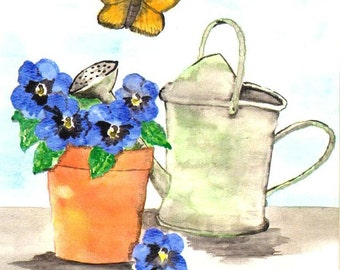 Watering Can Watercolor Print, Pansies Painting, Butterfly and Flowerpot Home Decor Wall Art, Still Life Floral Picture