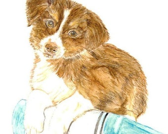 Dog Painting, Matted Art Print of Original Watercolor of Brown and White Puppy, Pet Portrait, Animal Picture, Collie, Spaniel