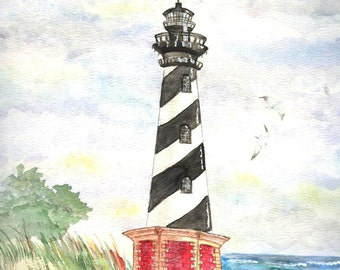Cape Hatteras North Carolina Lighthouse Watercolor Print, Beach Wall Art, Seashore Home Decor, Outer Banks Painting, Ocean Picture