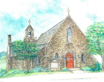Grace Episcopal Church, Brunswick, Maryland Art, Watercolor Print, Stone Chapel Painting, Religious Home Decor, Inspirational Picture