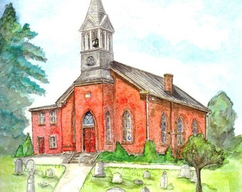 Church Watercolor Print, Mt. Zion Lutheran, Maryland Art, Jefferson MD Chapel, Religious Painting, Inspirational Picture