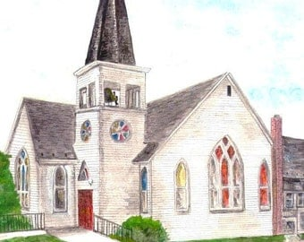 White Church Watercolor Print, Religious Painting, Maryland Art, New York Hill United Methodist Church, Brunswick MD, Inspirational Art