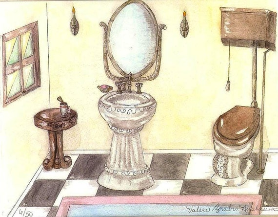 Vintage Toilet and Sink Watercolor Print, Bathroom Art, Victorian Painting, Art Deco Home Decor