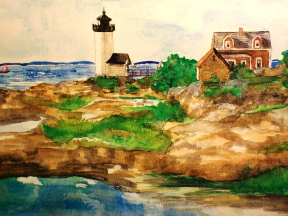 Cape Ann Lighthouse, Massachusetts Matted Art Print of Original Watercolor Painting - Seashore Picture New England