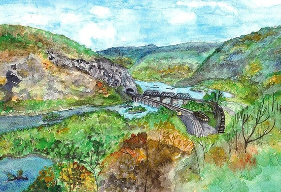 Harpers Ferry, West Virginia, Watercolor Print, Historical Painting, Bridge, Train Tracks, Tunnel, Potomac River, Home Decor Wall Art