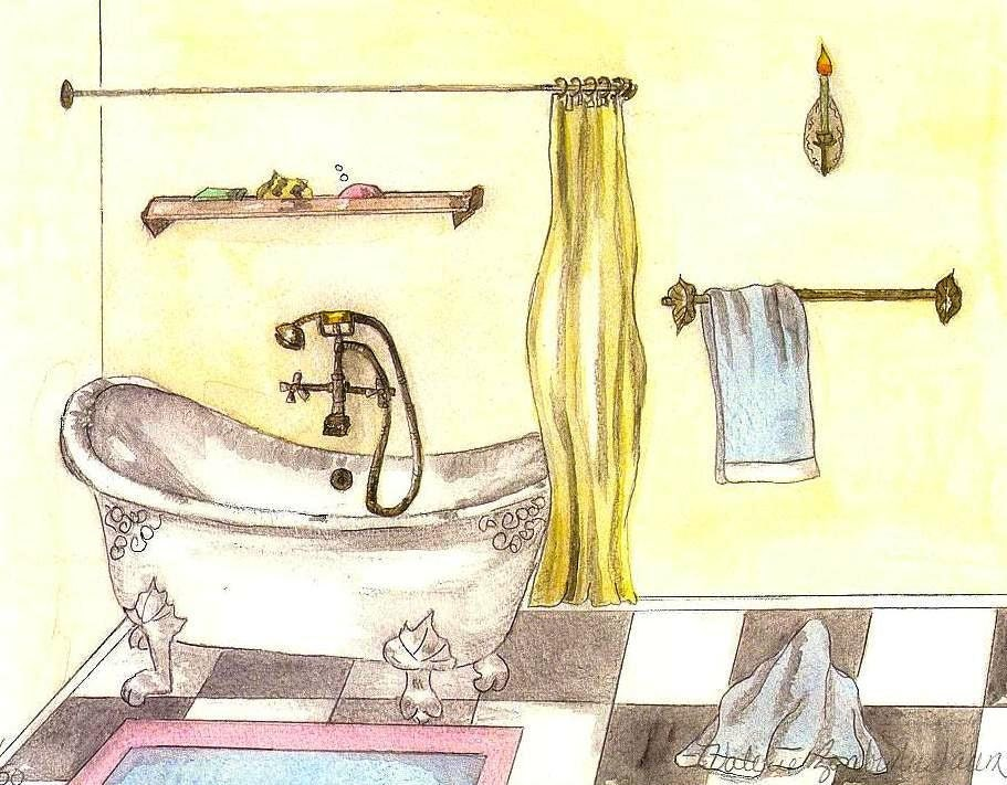 zoom. Bathroom Art Watercolor Print of Vintage Bathtub Art Deco