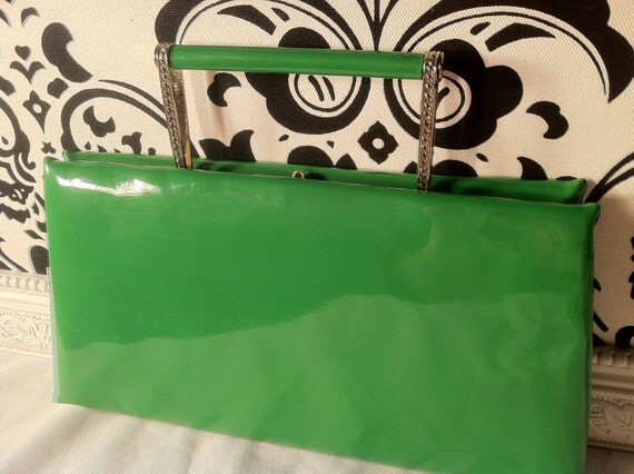 Green Patent Leather Evening Clutch by Alter Five