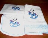 Baby Snoopy in Blue or Pink Layette Set --Bib, Burp Rag, and Receiving Blanket