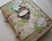 """Handmade Prayer Journal Philippians 4:8 Upcycled Floral Cottage Chic """"Lovely Things"""" READY TO SHIP"""