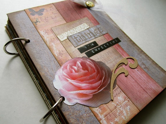 """SALE New Mom Journal Expecting Mother Gift """"Beautiful Things I'm Expecting"""" Handmade Ready To Ship"""