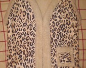 Faux Shearling Vest - Leopard Print and Cream