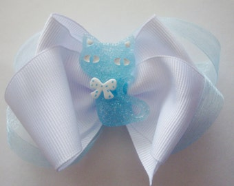Blue kitty hairbow, white hairbow for girls