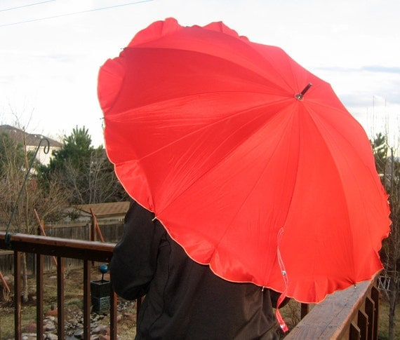 Vintage Ruffled Bright Red Umbrella fully functional