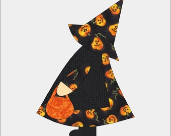 "Sun Bonnet Sue Halloween Applique Pattern for 8"" blocks for Sewing Quilting Scrapbook Template"