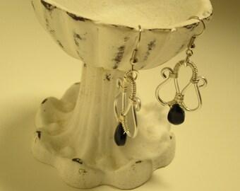 Silver wire wrapped dangle earrings  black tear drop bead
