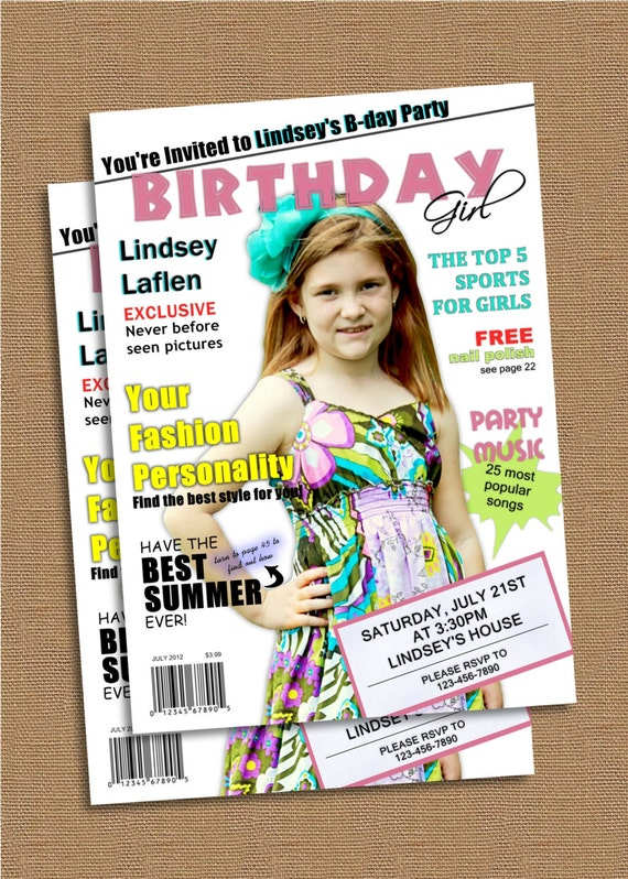 Items similar to Magazine Cover Birthday Invitation on Etsy – Magazine Cover Birthday Invitations