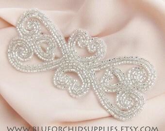 Beaded Applique, Heart Applique, Silver Applique (1 Piece) Sashes, Head Piece, Garter Applique, Apparel Wedding Bridal Heart Headband Cake