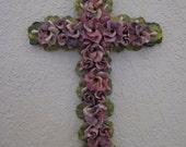 Wall Cross with Flowers, Ceramic-like