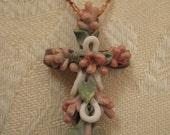 Pendant, Flower Cross, Ceramic-like