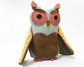 Owl Plush owl soft toy owl toy owl softie owl plushie children toy kids toy owl woodland toy mint brown owl plush bird toy bird plush soft