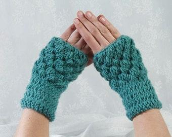 Crocheted Gloves, Finger Less Gloves, Blue Gloves, Blue Mittens, Crochet Gloves, Mint Gloves, Wrist Warmers, Winter accessorize