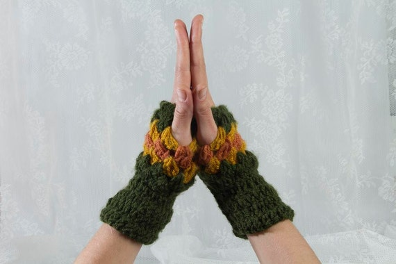 crochet gloves green mustard gloves finger less gloves crochet mittens crochet wrist warmers knitted gloves knitted mittens green mustard