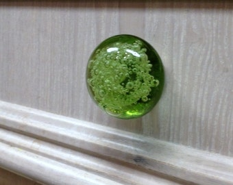 Bubble Glass Knob - Lime Green