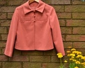 Vintage salmon colored three button jacket / 80s box jacket / peach coat size small medium