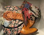 CORDIE FAE. Custom Handmade Vintage Cowboy Boots with Fabric and Belt Accents