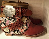 Custom Handmade Vintage Cowboy Boots with Fabric and Belt Accents
