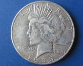 1935 S, Peace dollar, approximately VG- AF condition, San Francisco, lady liberty, american eagle, fathers day, vestiesteam