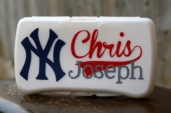New York Yankees Personalized Baby Wipes Case - Travel Size