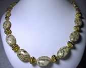 Semi-Precious Tigerskin Jasper Beaded Necklace With Gold Accent Beads - No 418-26