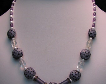 Lavender Patterned Lampwork Beaded Necklace - Item 296