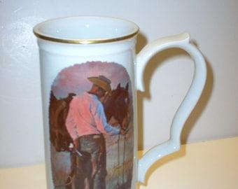 GORHAM BEER MUG Cowboy and His Horse Stein by Artist Tom Ryan 1979 retired New