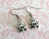 Skull & Crossbone Dangle Earrings-Rockabilly Inspired- Psycobilly-Pirate-Poison-Punk-Hot Rod-For Women-Teens
