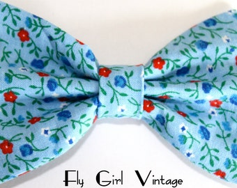 Cute-Vintage-1940s-Style-Hair-Bow-Clip- Blue-Floral-Print-Reproduction-Fabric-Rockabilly-Pin-Up-Mod-For Women, Teens, Girls, Babies