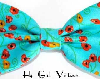 1940s Style Fabric Hair Bow Clip- Floral Print-Aqua-Blue-Rockabilly-Pin Up- Mod- For Women, Teens, Girls, Babies, Children