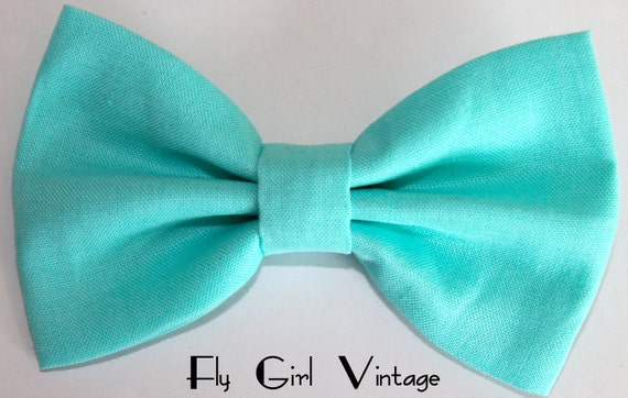 LAST ONE Mint Hair Bow, Girls Hairbow, Fabric Hair Bow, Retro Bow baby hair bow, rockabilly, pin up, shabby chic, vintage wedding, baby clip