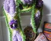 handmade scarf crochet green and violet vegetal with flowers and leaves hand knitted.FREE SHIPPING.