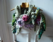hand made freeform crochet silver bronze scarf,fairy,vegetal, with flowers,handknitted leaf,OOAK