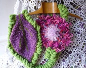 SALES hand made crochet green scarf or belt with a big green-violet hand knitted leaf  and a big pink-purple flower.