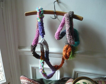 hand made crochet scarf ,muticolor,psychedelic,FREE SHIPPING.