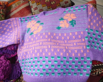 hand knitted sweater,violet,green,orange with a floral and geometrical patterns.FREE SHIPPING.