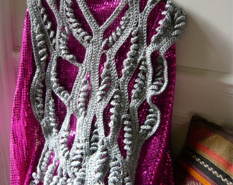 hand made crochet brilliant,silver scarf or poncho or capelet,OOAK.FREE SHIPPING.