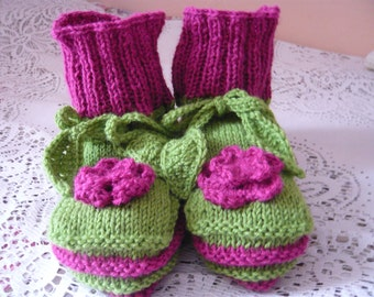 hand knitted women slippers or socks in fuschia and vivid green,wearable art,OOAK